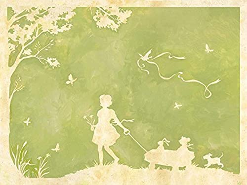 Oopsy Daisy Toile Girl Pulling Wagon Stretched Canvas Wall Art