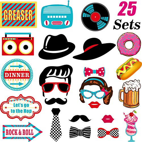 50's Photo Booth Props Kit 1950's Rock N Roll Party Supplies, Sock Hop Photo Props Kit, 25 -