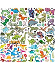 6 Sheets COKTAK Dino ROAR! 3D Girls Boys Temporary Tattoos For Kids Party Favor Birthday Decoration Dinosaur Tattoo Set Children Face Temporary Stickers Waterproof Arm Hand DIY T-Rex Fake Tatoos Kits
