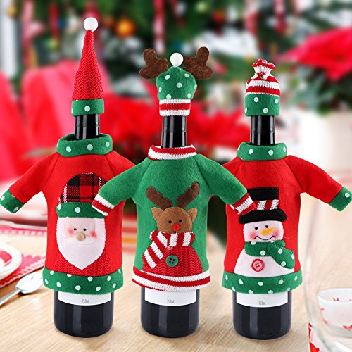Aytai 3pcs Ugly Christmas Sweater Wine Bottle Cover, Handmade Wine Bottle Sweater for Christmas Decorations Ugly Christmas Sweater Party Decorations]()