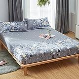 KFZ Fitted Sheet Bedsheet Two Pillowcases for Bedding Duvet Cover Set Comforter MJ Twin Full Single Double Bed Rose Mary Flower Design for Kids 3pcs Sheets Set (Rosemary, Purple, Full 59''x79'')