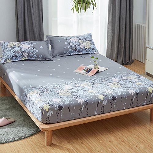 KFZ Fitted Sheet Bedsheet Two Pillowcases for Bedding Duvet Cover Set Comforter MJ Twin Full Single Double Bed Rose Mary Flower Design for Kids 3pcs Sheets Set (Rosemary, Purple, Full 59''x79'') by KFZ