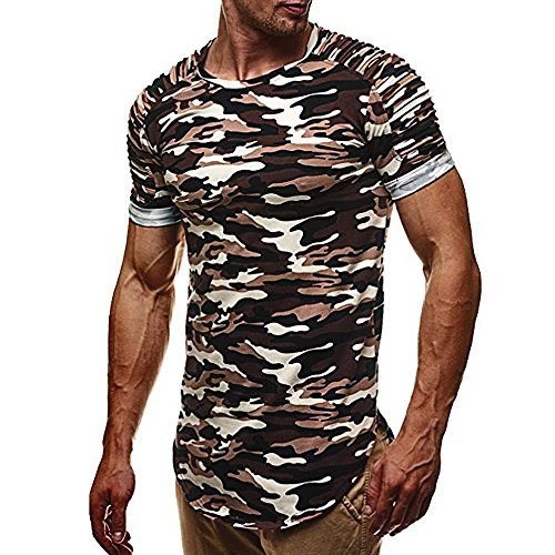 Beautyfine Fashion Camouflage Slim Short-Sleeved Shirt Personality Men's Casual Top Blouse ()