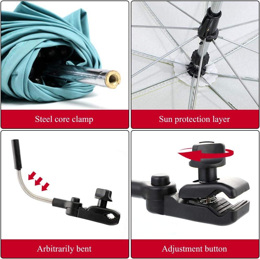 Souarts Kinderwagen Sonnenschirm Regenschirm Sonnenschutz UV-Strahlen Babywagen Schirm mit Universal Halterung 360/° flexiblen Schwanenhals