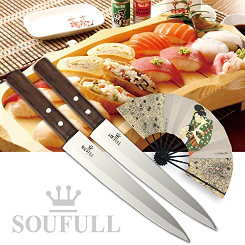 Professional Sashimi Sushi Knife,2/3 Tang Unbroken Soufull Japanese Surgical Grade stainless steel,325mm with Razor Sharp Blade, Gray Leather Wooden Handle with Double Riveted-Durable with Gift Box by Soufull (Image #4)