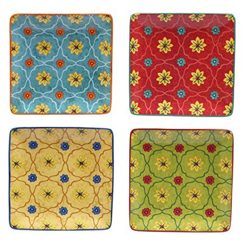 4 Piece Hand Painted 6 Inch Ceramic Square Canape Plates wit