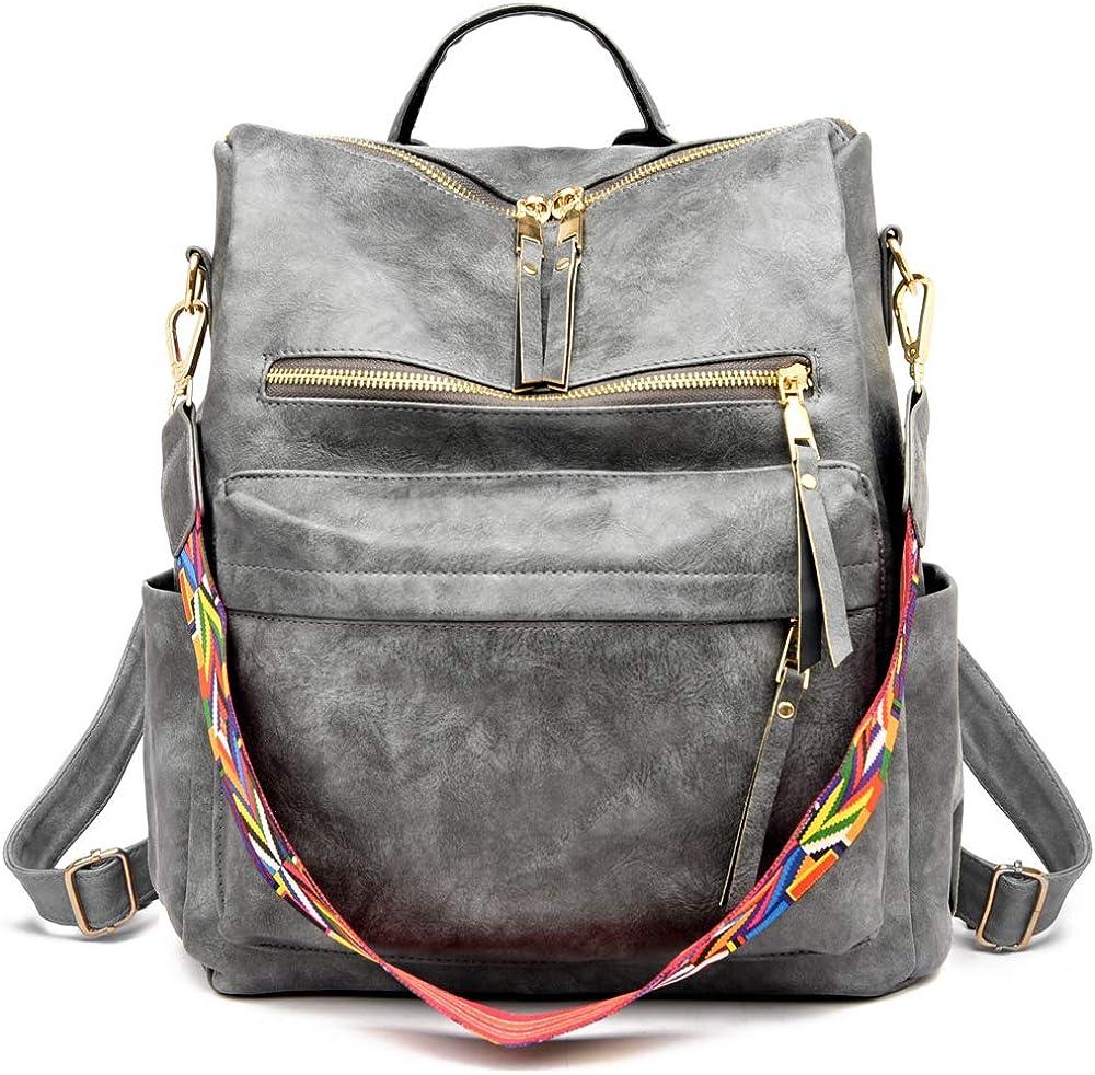 Women's Fashion Purse Backpack Multipurpose Design Handbags and Shoulder Bag PU Leather Travel bag