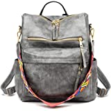Women's Fashion Backpack Purses Multipurpose Design Convertible Satchel Handbags and Shoulder Bag PU Leather Travel bag (Grey