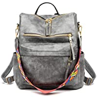 Women's Fashion Backpack Purses Multipurpose Design Convertible Satchel Handbags and Shoulder Bag PU Leather Travel bag (Grey)