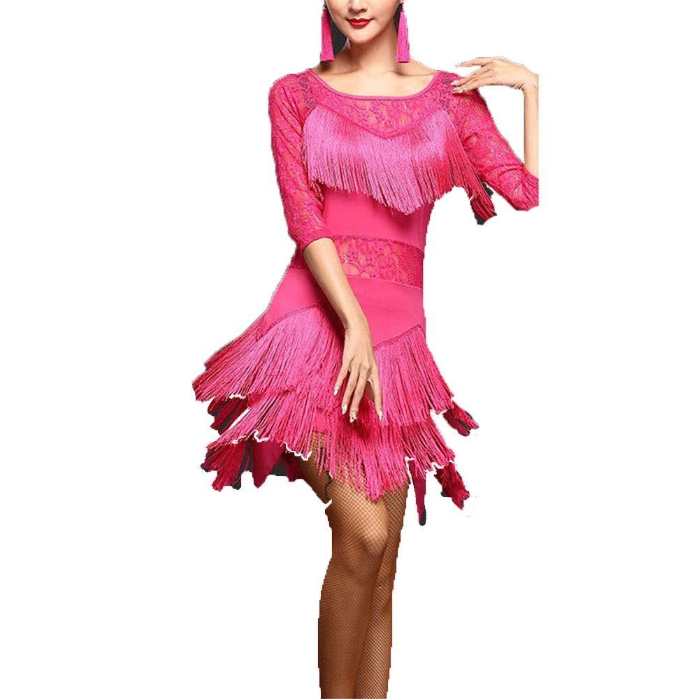 Rose rouge XXL Robes de Danse Latine pour Femmes Femmes Fbaguee Glands Flapper Robe De Danse Latine Costumes Moitié Manche Floral Dentelle Tango Ballroom Dancewear Compétition Perforhommece Danse Robe
