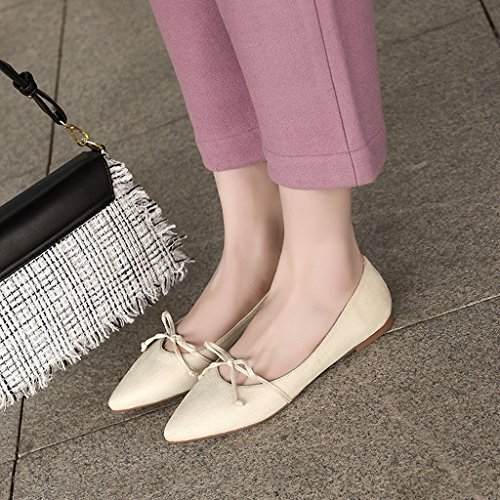 femme 38 femmes Couleur taille de pédale chaussures une plates chaussures de Chaussures pointues sport chaussures Rose Mouth HWF simples Beige Printemps clair Shallow féminine fFvB45qx5w