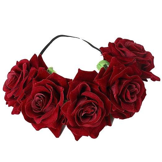 Amazon.com  Cereoth Flower Crown Boho Headband Wreath Floral Garland ... 110520746e3