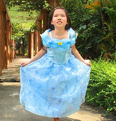 2015 NEW Cinderella dress blue princess dress Costume for girls