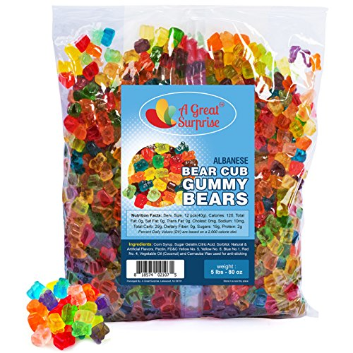Gummy Bears Bulk - Gummi Bear Cubs 12 Flavors - Bulk Candy Gummies 5 LB by A Great Surprise