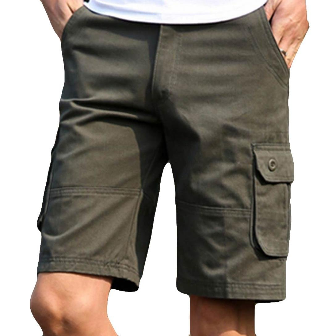 AMSKY Men's Fashion Classic-Fi tCasual Comfort Cargo Short with Pocket (30, Army Green)