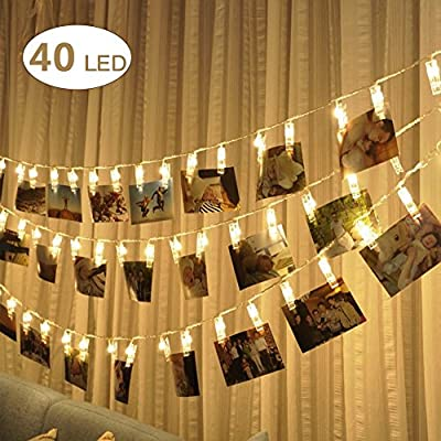 LED Photo Clip String Lights,Besokuse 40 Photo Peg Clips Battery Powered Fairy Twinkle Picture Lights,Wedding Party Christmas Home Decor Lights for Hanging Photos, Cards and Artwork (14Ft,Warm White)
