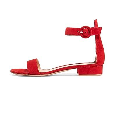 3d7d0443061 Soireelady Women s Low Heels Sandals Ankle Strap 2CM Open Toe Sandals Summer  Classic Flats Black US6