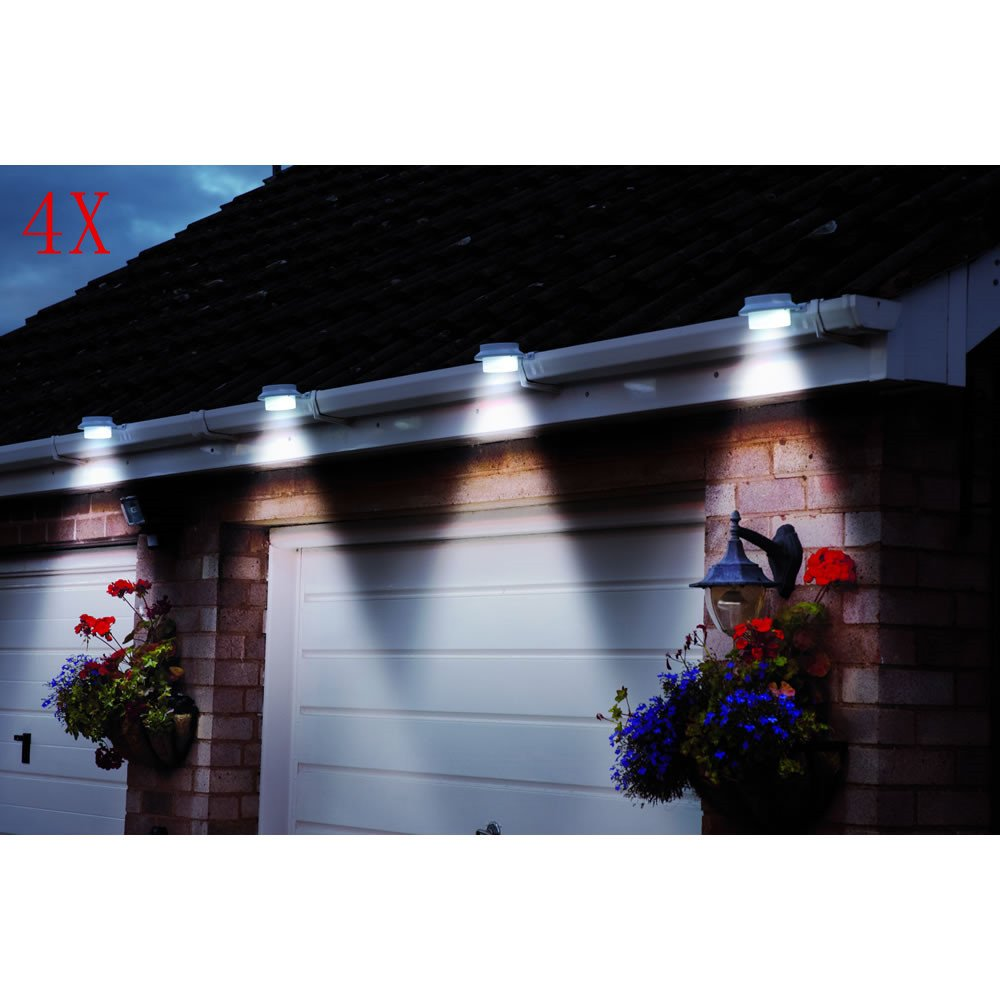 White Sun Power Smart Solar Gutter Night Utility Security Light 6 Pack Deal Outdoor Solar Gutter LED Lights
