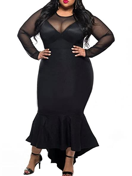 Amazon.com: Women\'s Plus Size Mesh Long Sleeve Mermaid Dress ...