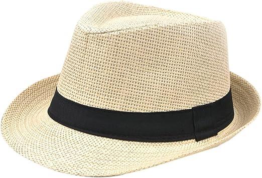 Outflower Sombrero al Aire Libre Masculino Adulto de la Playa del Sombrero del Jazz del Papiro Brit/ánico Sombrero de Sol al Aire Libre