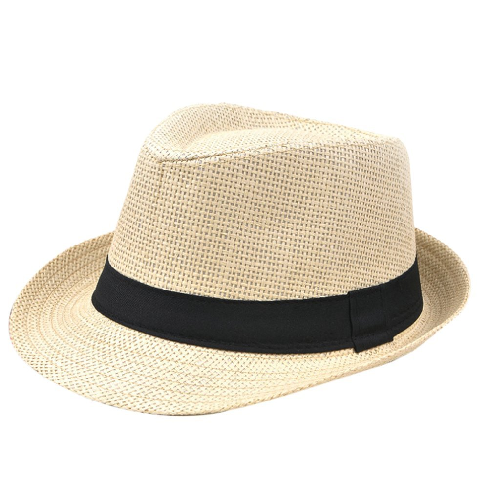 Cupcinu Panama Summer Sun Beach Straw Hat British Style Fedora Trilby Straw Hat Cap Foldable Packable Outdoor Travel Cap for Men Women