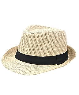 TREESTAR Casquillo Casual de Panamá Hombres Sombrero de Sol de Borde Redondo Paja Sombrero para Deportes al Aire Libre Acampar Playa Primavera Verano