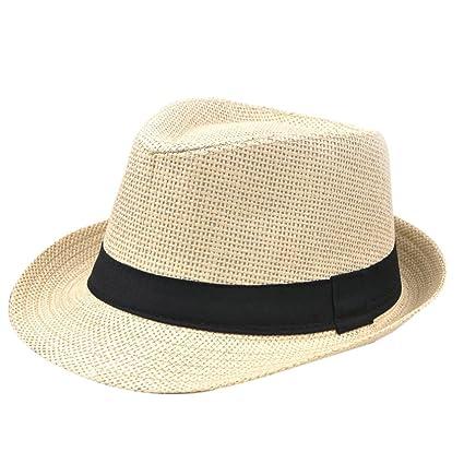 DaoRier Hombre Mujer Panama sombrero Jazz Sombrero Sombreros flexible de  sol verano playa Sombreros Beach sombrero 892eda0f91a