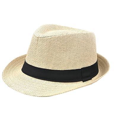 Leisial Moda Cappello Panama Uomini Primavera Estate Spiaggia Outdoor Pura  Tappo Di Paglia Di Colore  Amazon.it  Abbigliamento 8df42343e4b4