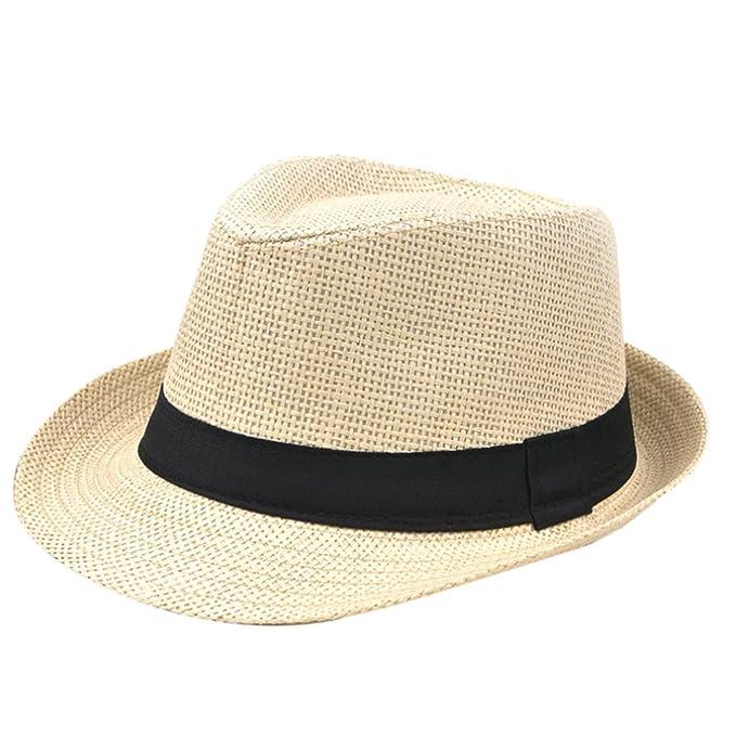 WeiMay cappello panama di paglia Unisex Panama Cappellino da spiaggia  Fedora Sun con cappelli regolabili d0cd109c3754