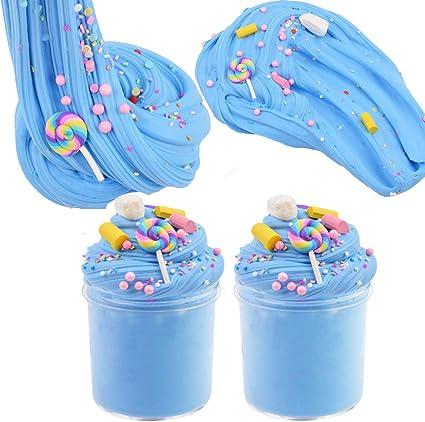 . Fluffy Slime Putty Slime,BESTZY Cotton Candy Slime Blu Fluffy Cloud Slime Forniture Giocattolo di Rilievo di Stress profumato Fai da Te Stucco Giocattolo di Fango per Ragazze e Ragazzi 60 ml * 4