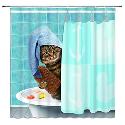 Lileihao Animal Series Funny Cat Shower Curtains For Bathroom 69 X 70 Inches Mildew Waterproof Polyester