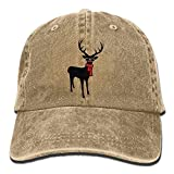 A Reindeer with Scarf and Glasses Cowboy Visor Rear Cap Adjustable Cap