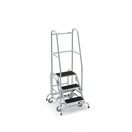 Mobile Escalera, con 3 niveles, goma – Nivel estriado Escaleras mobile Plataforma Escaleras llevado