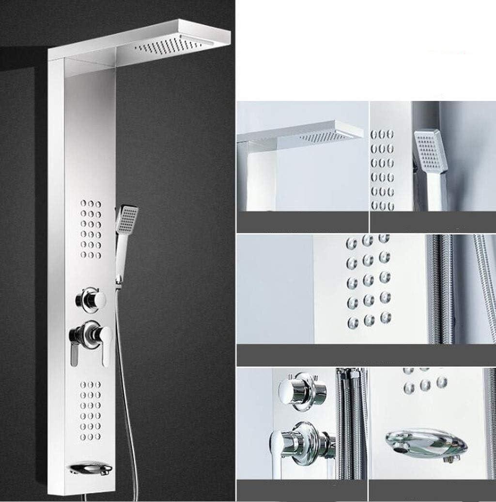 CHENGXINGF Cabezal de Ducha en Modo rociador Columna de Ducha con mampara de Ducha termostática de Pared de Acero Inoxidable 304 Conjunto de Ducha de baño frío y Caliente (Color : Silver6):