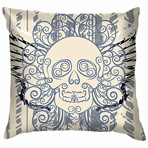 Dead Wing Skull Graffiti Art Cotton Linen Home Decorative Throw Pillow Case Cushion Cover for Sofa Couch 16X16 Inch]()