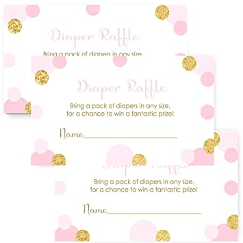 Amazon Com Pink And Gold Baby Shower Diaper Raffle For Girls