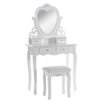 cheap for discount e7285 906e6 WOLTU Dressing Table,Wood Dressing Table with Chair and Mirror, Bedroom  Furniture for Girls, 4 Drawers White Makeup Desk 68 x 40 x 138cm(L x W x H)  ...