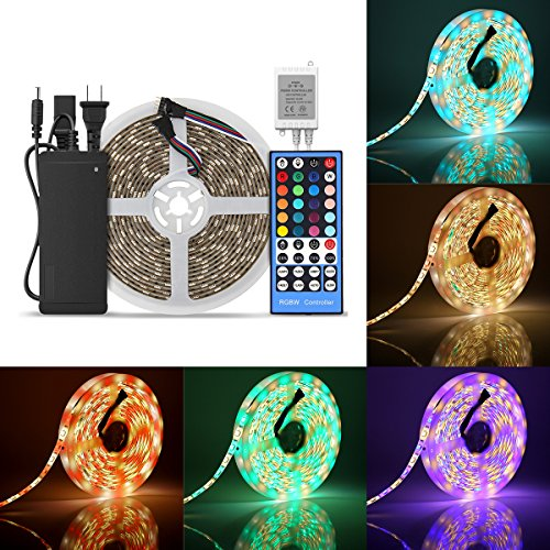 SUPERNIGHT 16.4ft (5m) 5050 300Leds RGB+Warm White LED Flexible RGBWW Waterproof LED Strip Lighting Kit ,5M RGBWW LED Strip + 40Key RGBWW Remote Controller + 12V 5A Power Supply