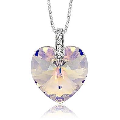 DTPsilver - Halskette Kette mit Herz Anhänger für Damen mit Kristall aus  Swarovski Elements - b383534d27