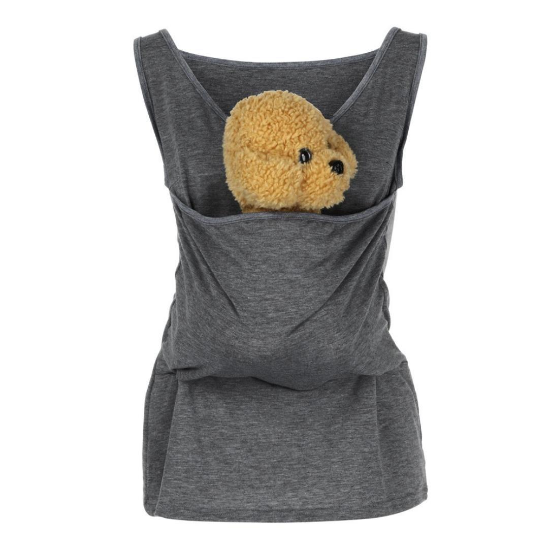 WensLTDユニセックスCat Hoodie With Cuddleポーチ犬ペットフード付きカジュアルカンガルースウェットシャツ Large グレー-1 B07C8ZTT28