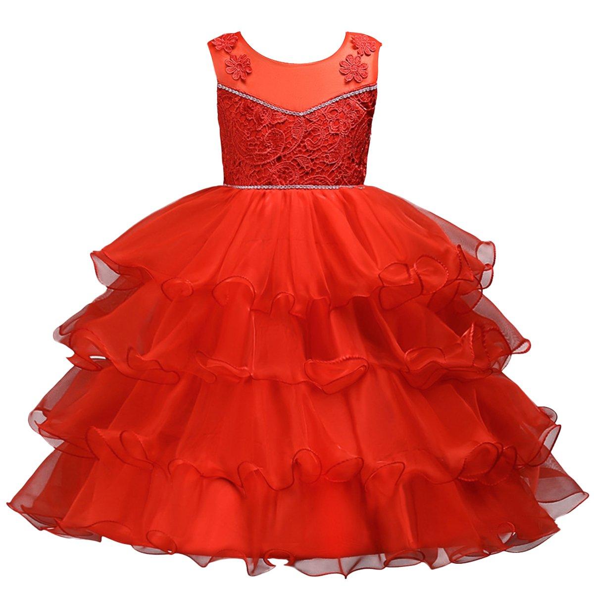 IBTOM CASTLE Girl Lace Party Wedding Flower Lace Dresses Graduation Princess Gown