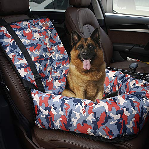 Dog Car Booster Front Seat Carrier with Removable Cover&Safety Leash for Small and Medium Pets Cat Up to 30 Lbs-Camouflage Orange