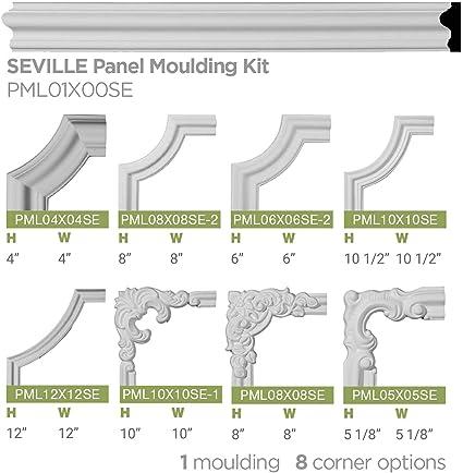 9 1//2W x 9 1//2H x 1P Ekena Millwork Dublin PML09X09DU-CASE-4 Panel Moulding Corner Factory Primed 4 Piece 4-Pack