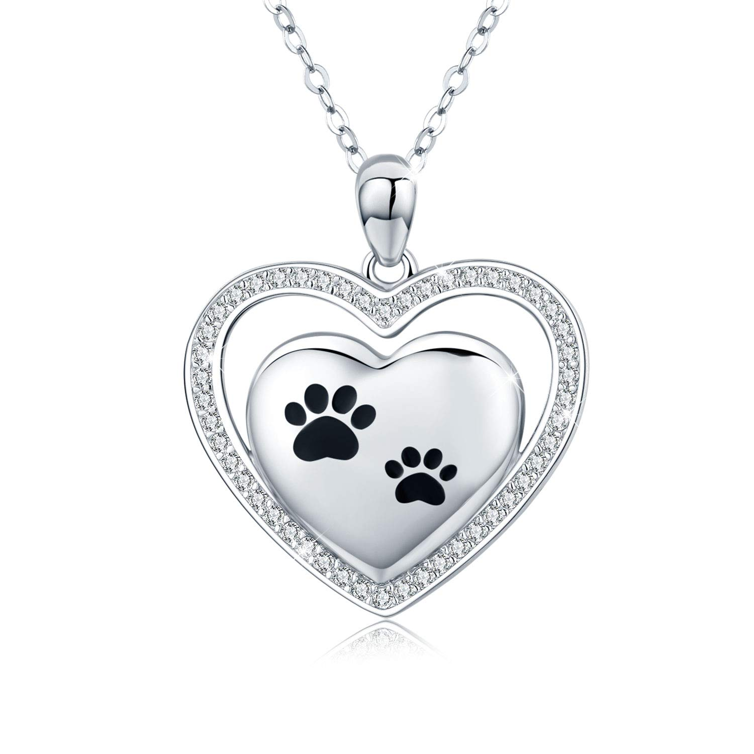 JUSTKIDSTOY Dog Necklace, S925 Sterling Silver Puppy Dog Pet Paw Print with Bone Love Heart Pendant Necklace for Animal Pet Lovers (Puppy Paw Heart Pendant) by JUSTKIDSTOY