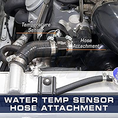 """GlowShift 34mm 1-5/16"""" Radiator Hose Attachment Adapter for Water Coolant Temperature Gauge Sensor - Includes Hose Clamps: Automotive"""