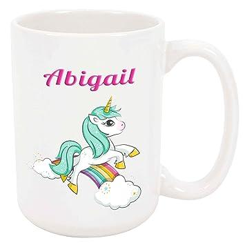 Amazon.com: Abigail (Unicorn) – Taza de color blanco (taza ...