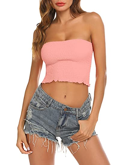 33658ded22b Locryz Strapless Tube Tops for Women Plus Size Large Pink at Amazon Women s  Clothing store