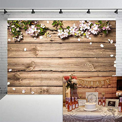 COMOPHOTO 7x5ft Rustic Wood Floral Backdrop Wooden Texture Board Floor Wall Wedding Flowers Photography Background Bridal Shower Baby Shower Birthday Party Banner Backdrops for Photo Booth Props -