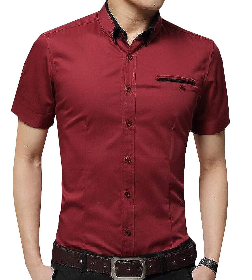 Joe Wenko Men Button-Down Summer Slim Fit Solid Color Shirt Short Sleeve Shirt