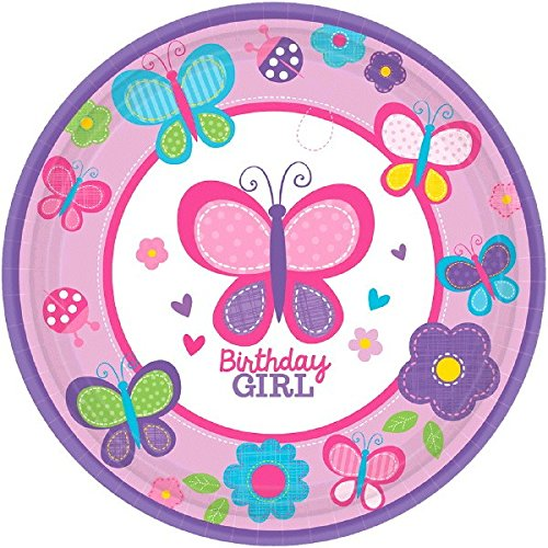 1st Birthday Girl Dessert Plate (Sweet Girl 1st Birthday Party Flowers and Butterflies Round Dessert Plates Tableware, Paper, 7